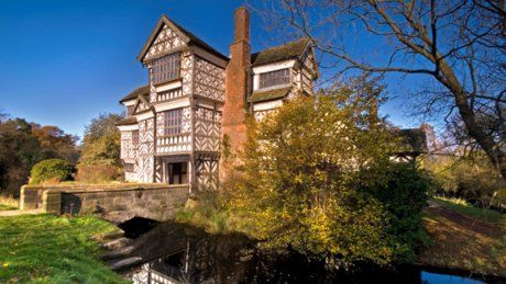 Little Moreton Hall in Congleton (Cheshire). Tudor style manor house with a moat.