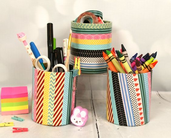 Kids Craft DIY Washi Tape Pencil Pot Tutorial: