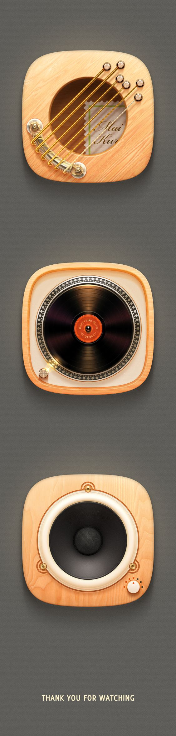 Music icons by ruo tang, via Behance