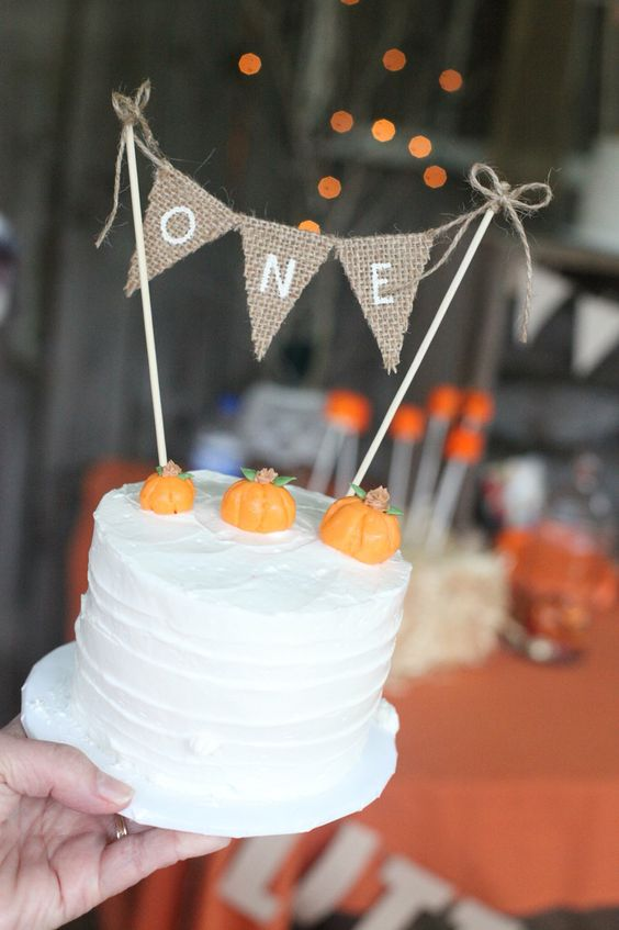 Fall birthday party/ pumpkin smash cake                                                                                                                                                     More