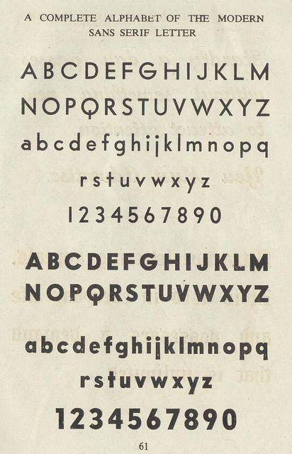 a complete alphabet of the modern sans serif letter 1949