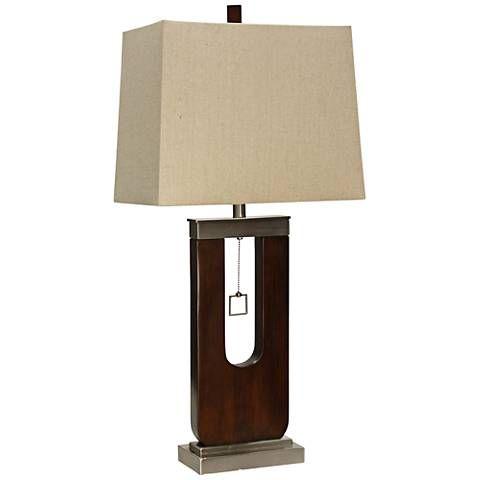 Burlingham Dark Oak Wood And Metal Table Lamp 36h17 Lamps Plus Wood And Metal Table Metal Table Lamps Steel Lamp Shade