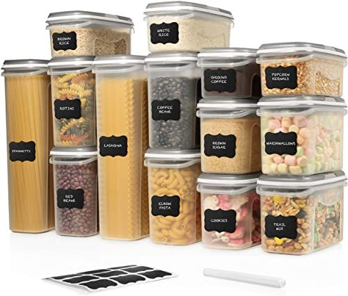 Best Seller Large Set 28 Pc Airtight Food Storage Containers Lids 14 Container Set Airtight Plastic Dry Food Space Saver Boxes One Lid Fits All Stackable In 2020 Airtight
