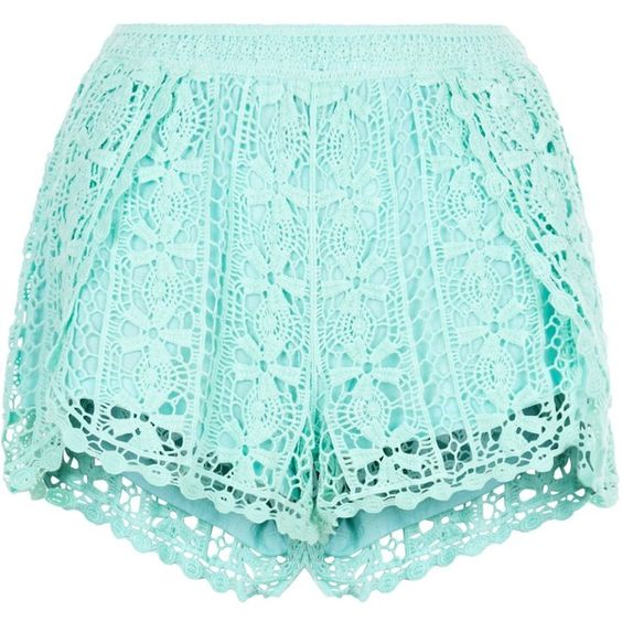New Look Mint Green Crochet Wrap Shorts (€11) ❤ liked on Polyvore featuring shorts, mint green, crochet shorts, mint crochet shorts, mint green shorts, mint shorts and wrap shorts