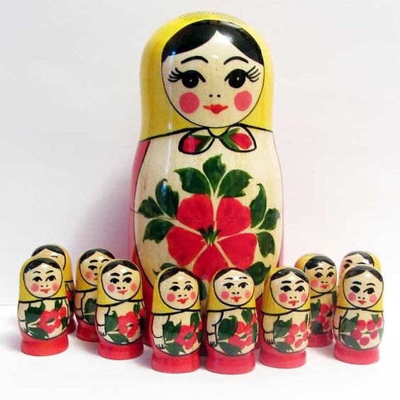 This is special set to teach children to count. The largest doll is mother-matryoshka, it is empty inside, it is opened as usual nesting dolls.