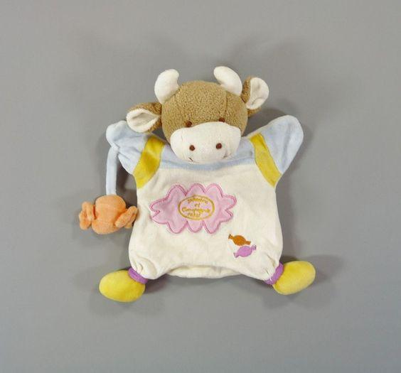 Doudou plat marionnette vache et bonbon Doudou et Compagnie 26 cm