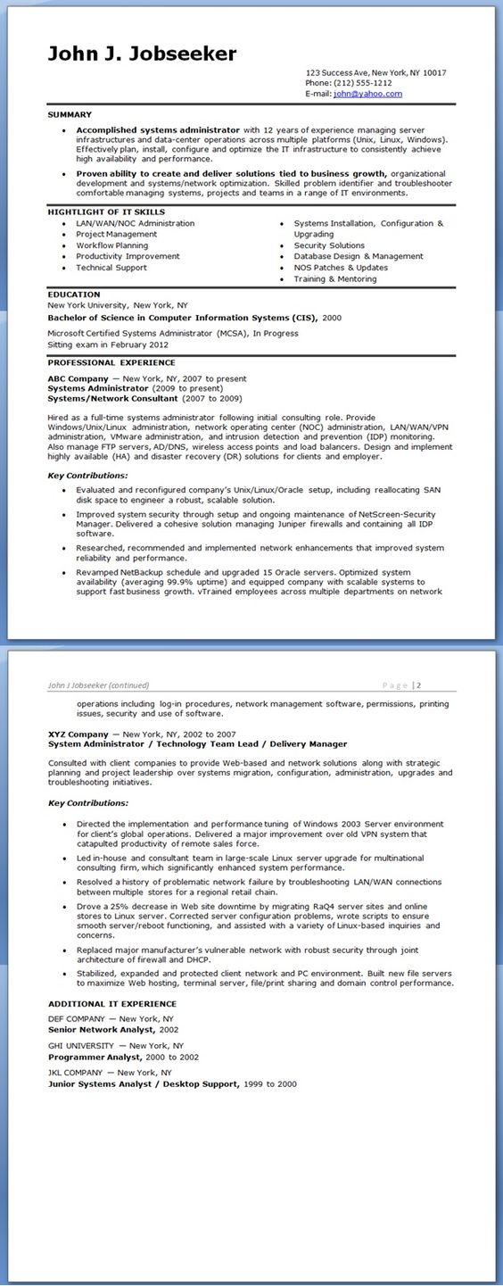 junior network administrator resume system administrator resume
