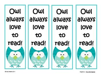Bookmarks to Inspire Reading - Owl Themed - FREE