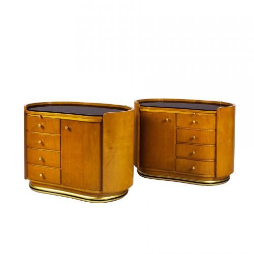 Vintage French Rounded Nightstands 1950s Set Of 2 For Sale At Pamono Round Nightstand French Vintage Nightstand