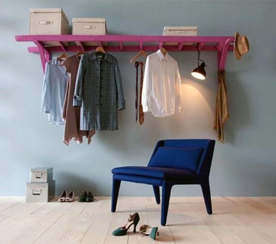 holzleiter als kleiderst nder umsetzen einrichtungsideen pinterest selbermachen und selber. Black Bedroom Furniture Sets. Home Design Ideas