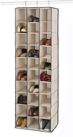Whitmor 30 Section Hanging Shoe Shelves Tan 11 5 X 16 5 X