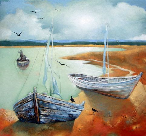 Lesley McLaren Boats in Shallow Water Signed Limited Edition Print   Scottish Contemporary Art:
