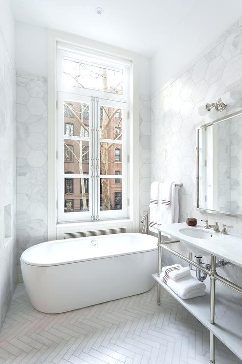 Herringbone Bathroom Floor Waterworks Double Washstand With White Marble Herringbone Tile Floor Dark Classic Bathroom Herringbone Tile Bathroom Bathroom Design