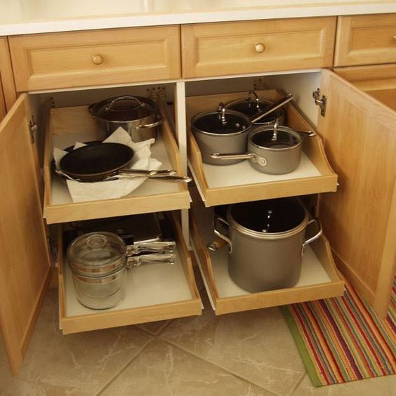 Cabinets will have pull-out drawers for easy access to pots & pans ...