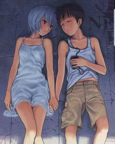 Rei & Shinji | Neon Genesis Evangelion | Arte de anime, Neon