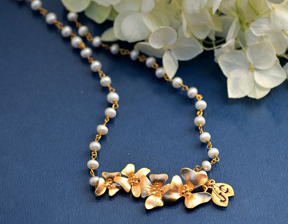 Custom Personalized Initial Leaf Charms Gold Cherrry flowers necklace Freshwater pearl Wire wrapped necklace - bridesmaid necklace. $44.99, via Etsy.