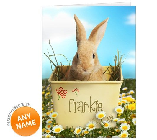 Personalised Easter Card Bunny In A Flower Pot From 99p Easter Cards Happy Easter Card Personalized Easter