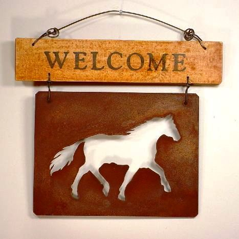 ''Welcome'' Sign Board with Rusted Tin Horse