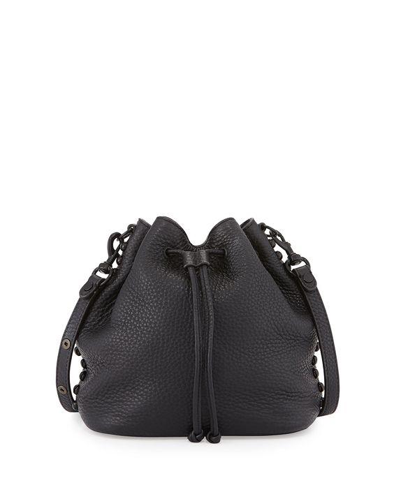 Pebbled Leather Bucket Bag, Black, Women's - Rebecca Minkoff