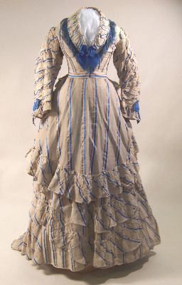 How might your ancestors have dressed in the 1870s?  #genealogy #familytree #clothing: Yellow Stripes, Cotton Dresses, Narrow Red, White Cotton, Green Black, Blue Stripes, Red Green, Christmas Gift, Cotton Gauze