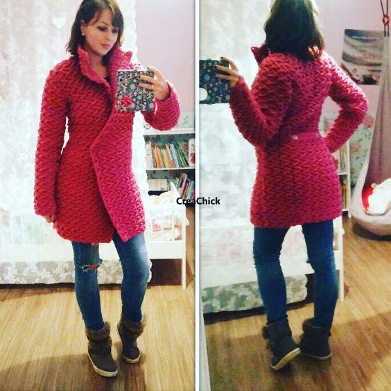 Haak een winterjas. Gratis patroon inclusief foto's. Crochet winter coat. Free pattern.
