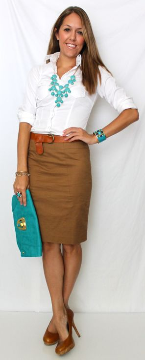 A pencil skirt and a white button up are staples for your work wardrobe.