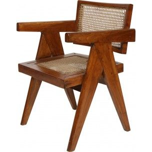 Mid-century armchairs in teak and cane, Pierre JEANNERET - 1950s
