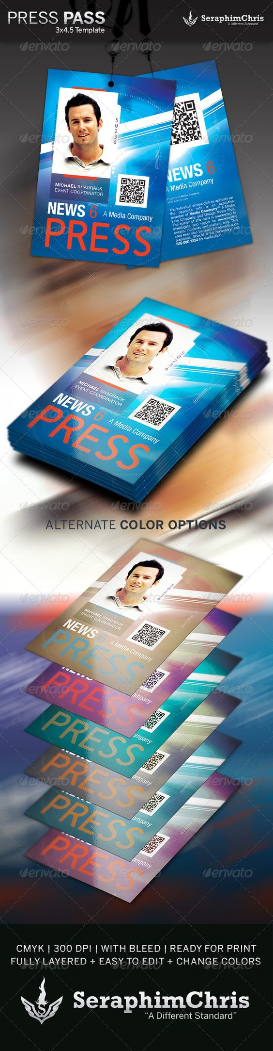 Press pass template 3 colors photoshop and presentation for Media press pass template