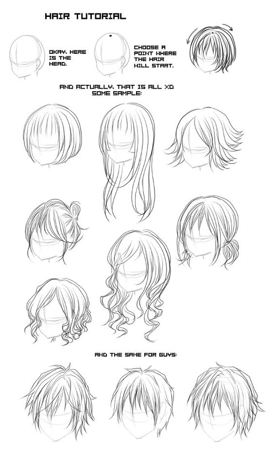 Line Drawing Styles : Different types of anime and manga hair styles