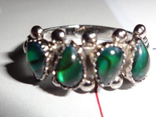 Genuine-Green-Paua-Shell-Ring-A-Wheeler-Mfg-Co-ORIGINAL