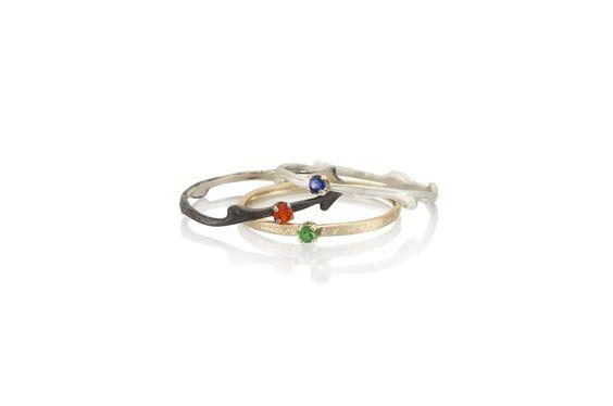 okomido — skinny bramble and orchard stacking rings with gemstones