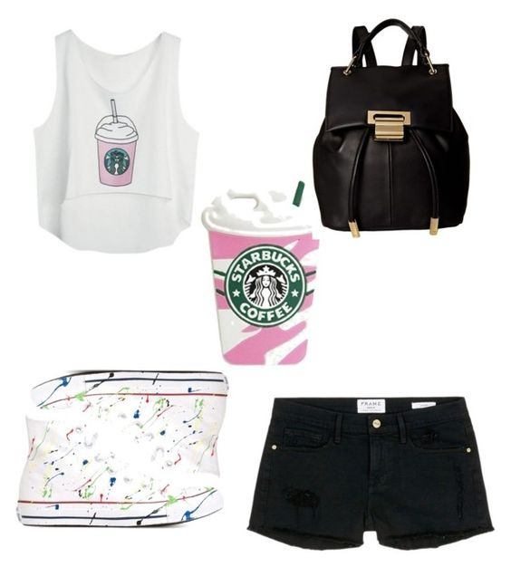 """Starbucks!"" by sadie-loehr ❤ liked on Polyvore featuring Frame Denim, Converse and Ivanka Trump"