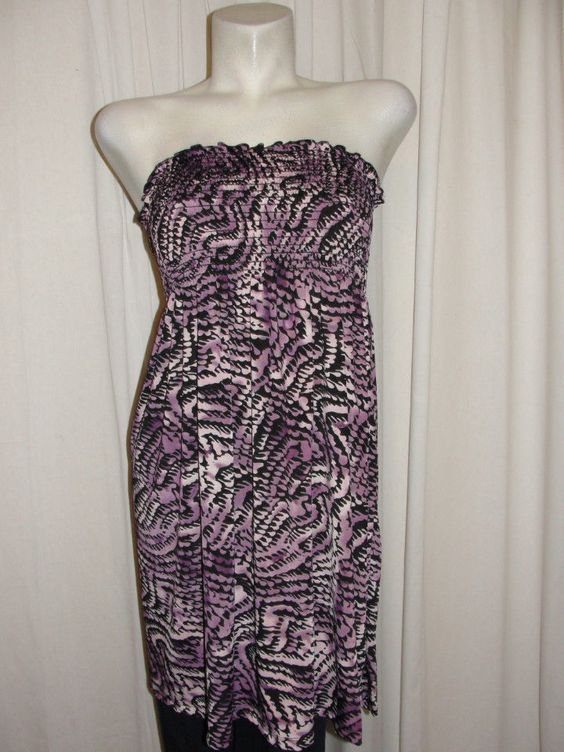 YUMMY Dress Size 1X Purple Black Elasticized Tube Sundress Cover-up Slip On #YUMMY #Maxi #SummerBeach