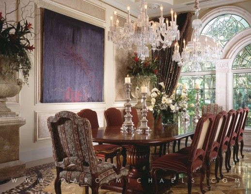 Venetian Inspired Dining Room Elegant Fireplace Chandelier Winter Park FL