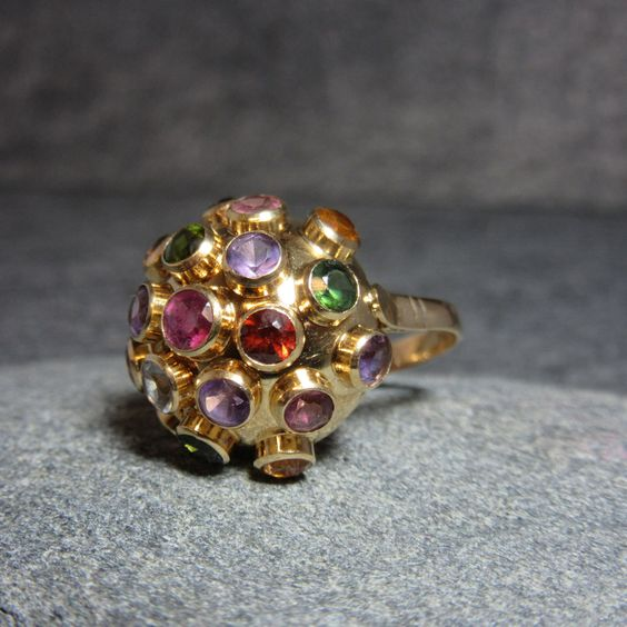 Vintage, 18k gold, Sputnik, Ring, H Stern, Mid Century, Multi stone, Dome, Gemstones, Purple, Green, Pink, Blue, Yellow, Red by BonfireStudio on Etsy