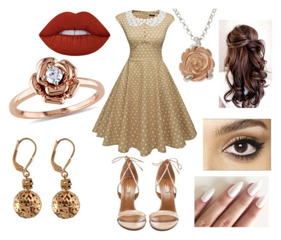 """""""1940's (please read description..........again)"""" by robandshannon ❤ liked on Polyvore featuring Aquazzura, Lime Crime, Claire Hart Design, Amour and Charlotte Tilbury"""