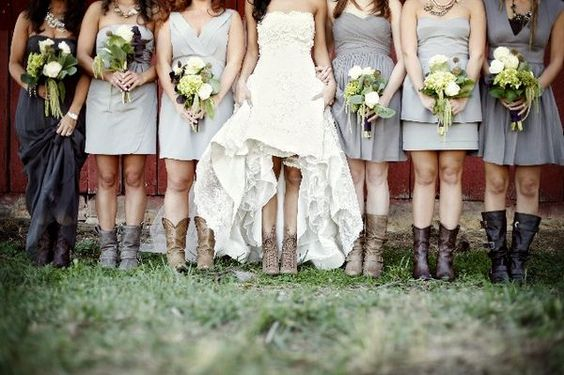 I'm really diggin' the different style dresses and similar but different colors. The different shoes are cute too. I like the variety but consistency! #wedding, #bride, #bridesmaids, #bouquet, #dress, #boots