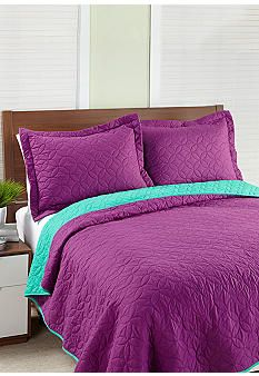 Steve Madden® Magenta & Turquoise Reversible Quilt Set - Onli belk