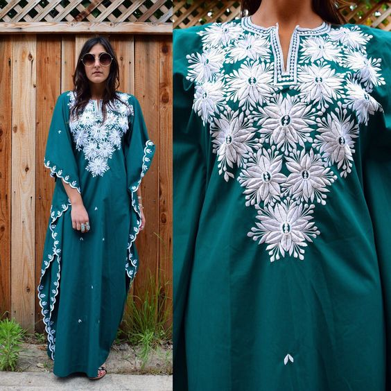 Forest green 70s vintage caftan with embroidery detail just listed, perfect for your summer beach vacation!