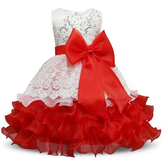 Amazon.com: NNJXD Girl Ruffles Vintage Embroidered Sequins Flower Wedding Dress Size (120) 4-5 Years Red: Clothing