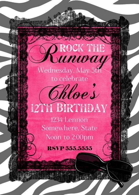 Fashion Show Birthday Party Invitation by GoldenMomentsDesign