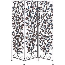 "Room divider with open vine-inspired detail.  Product: Room dividerConstruction Material: MetalColor: Brown and blueDimensions: 68"" H x 51"" W x 1"" D"