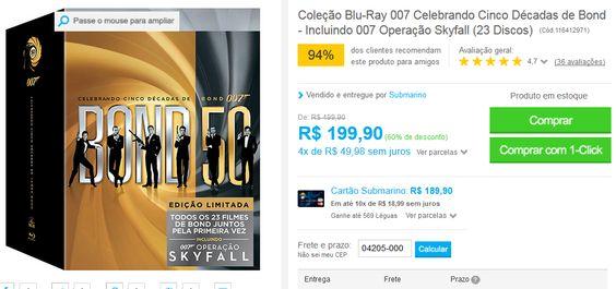 Coleção Blu-Ray 007 Celebrando Cinco Décadas de Bond - Incluindo 007 Operação Skyfall (23 Discos) << R$ 19990 em 4 vezes >>