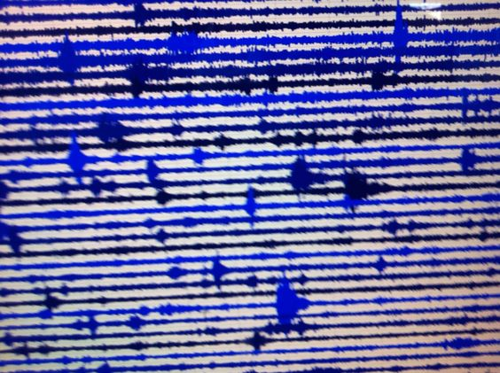 Live shot of a seismograph; K is for Kismet