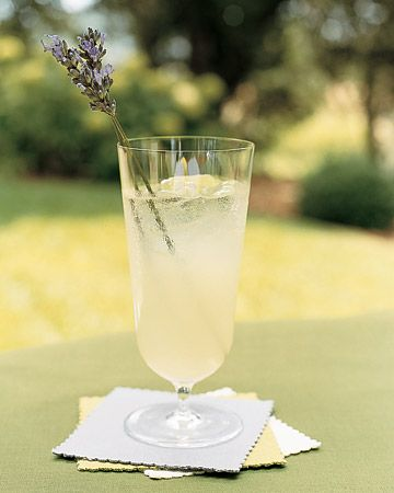 A sprig of lavender doubles as a drink stirrer for this signature cocktail
