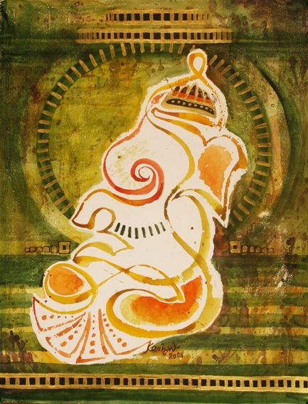 Ganesha in one line.mixed media.