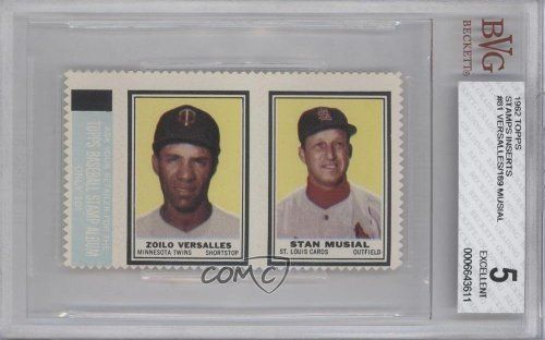 Zoilo Versalles Stan Musial BVG GRADED 5 (Baseball Card) 1962 Topps Stamps #81/189 by Topps. $18.70. 1962 Topps Stamps #81/189 - Zoilo Versalles Stan Musial BVG GRADED 5