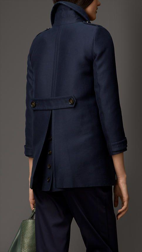 Pea coat estruturado em algodão e seda | Burberry