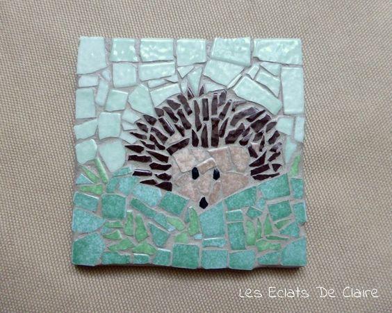 sous verresous mug en mosaque petit hrisson cuisine et service de - Idees Mosaiques Image
