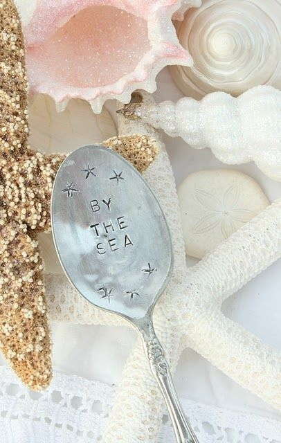 The only place that feels like home. ♡ the ocean Vintage spoon, stamped  glitter on shells - that's a Christmas thing